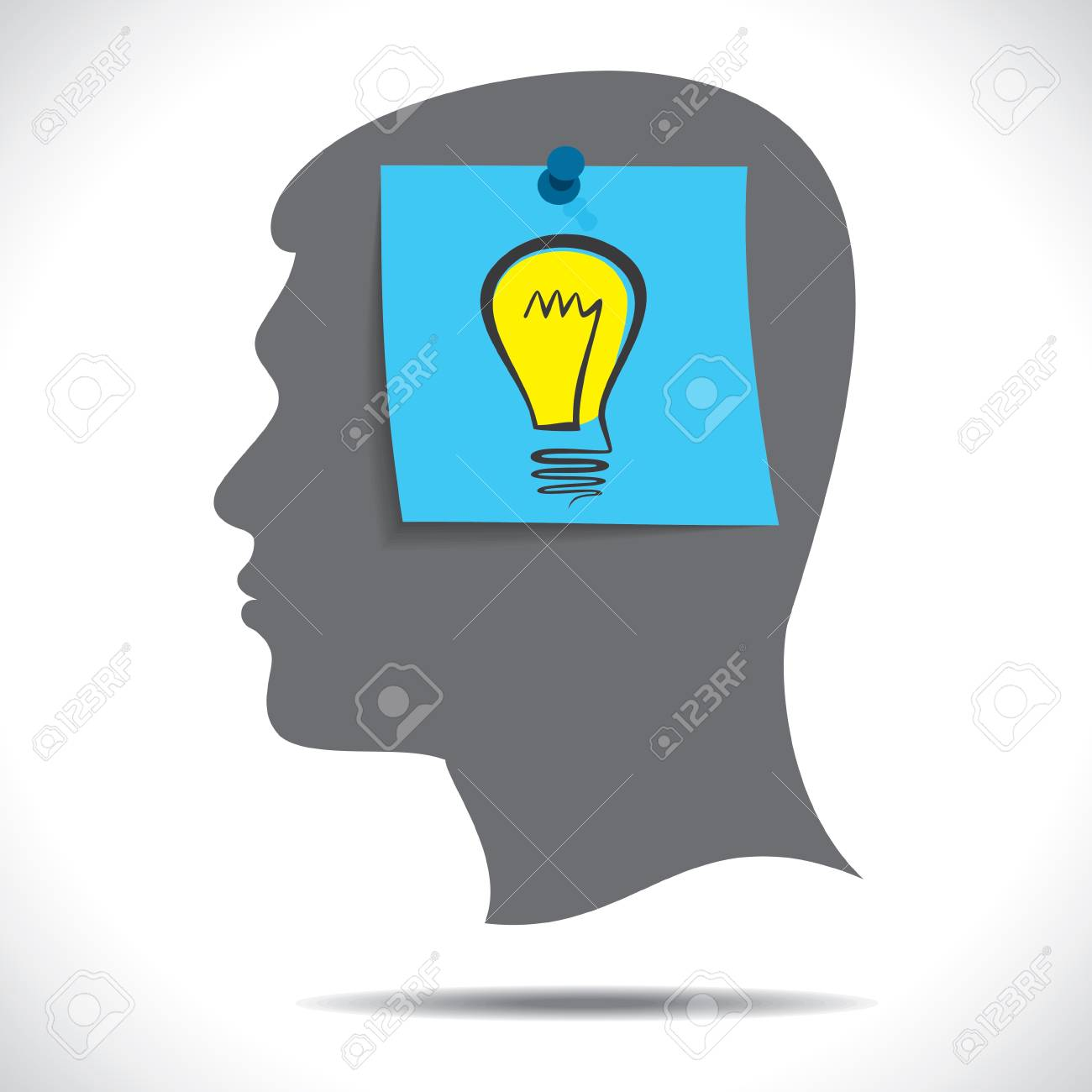 new idea bulb paper note in human head Stock Vector - 17763336