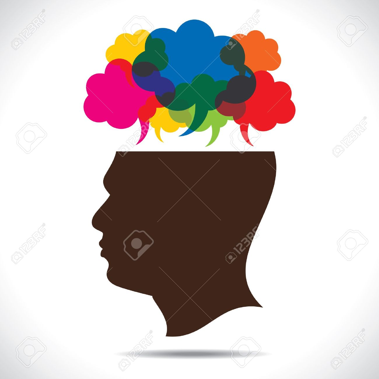 message bubble in human head stock vector - 17763195