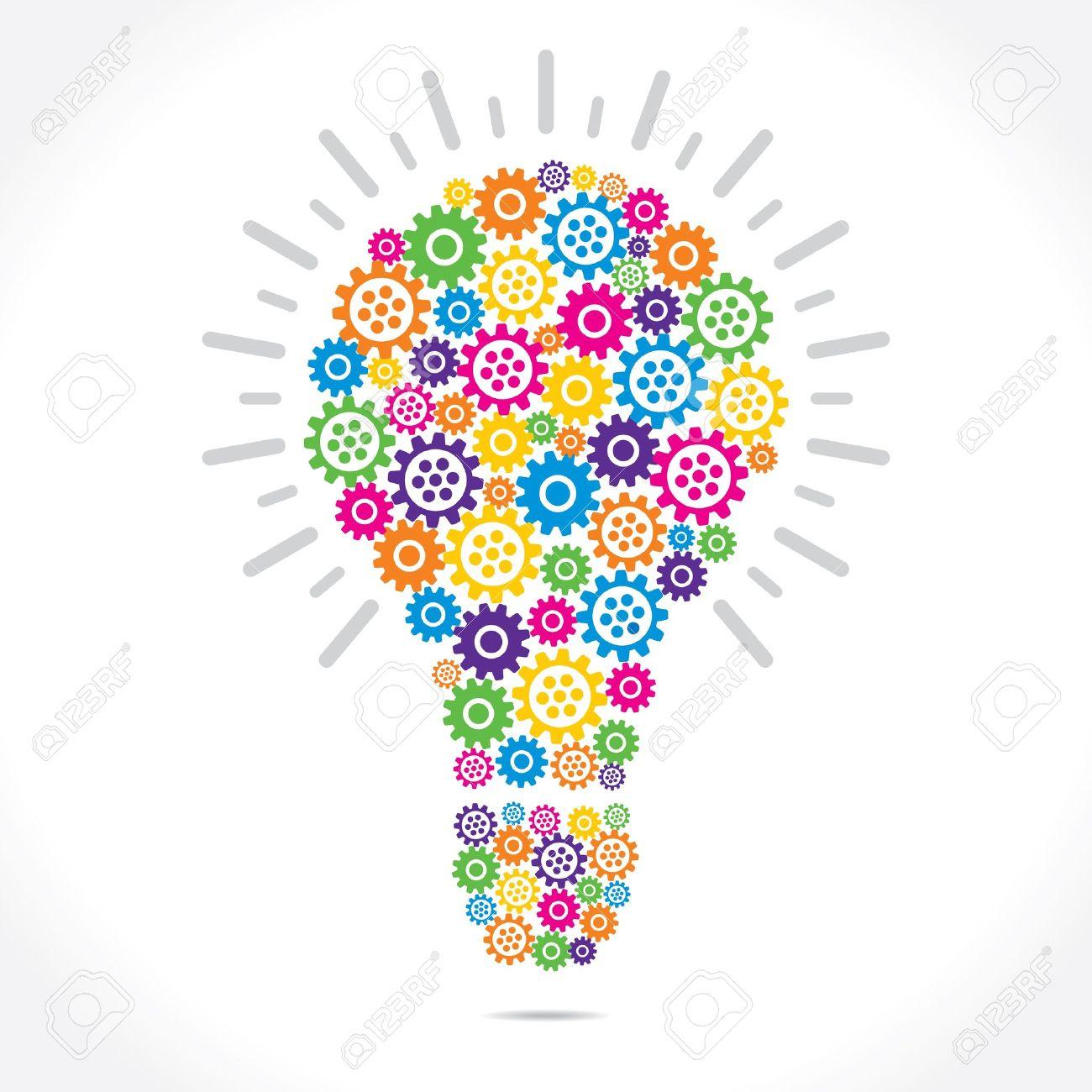 banque dimages engrenages colors font vecteur stock ampoule forme - Ampoule Colore