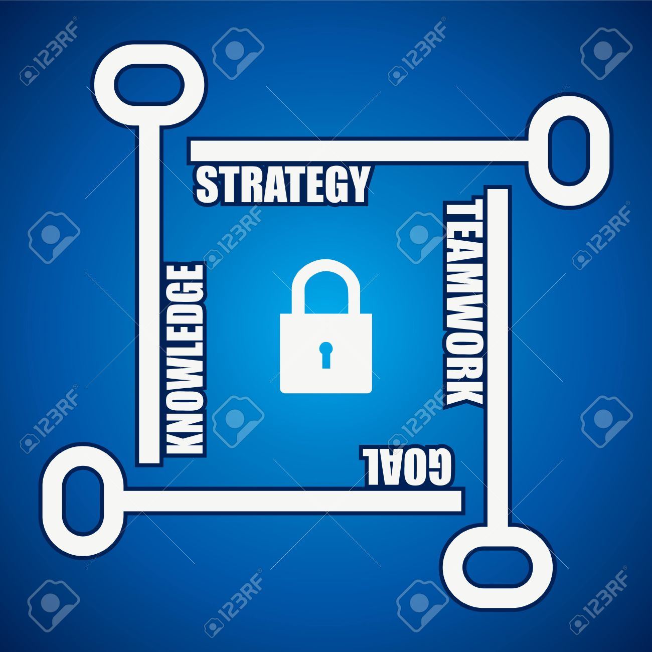Group of keys required for  open a lock Stock Vector - 17931328