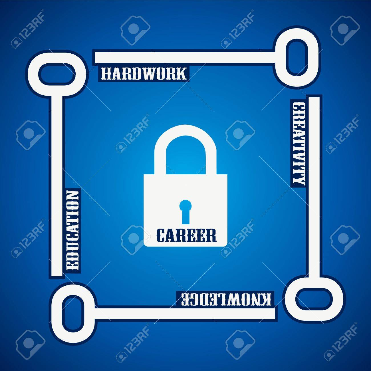 Group of keys required for  open a career lock Stock Vector - 18053559