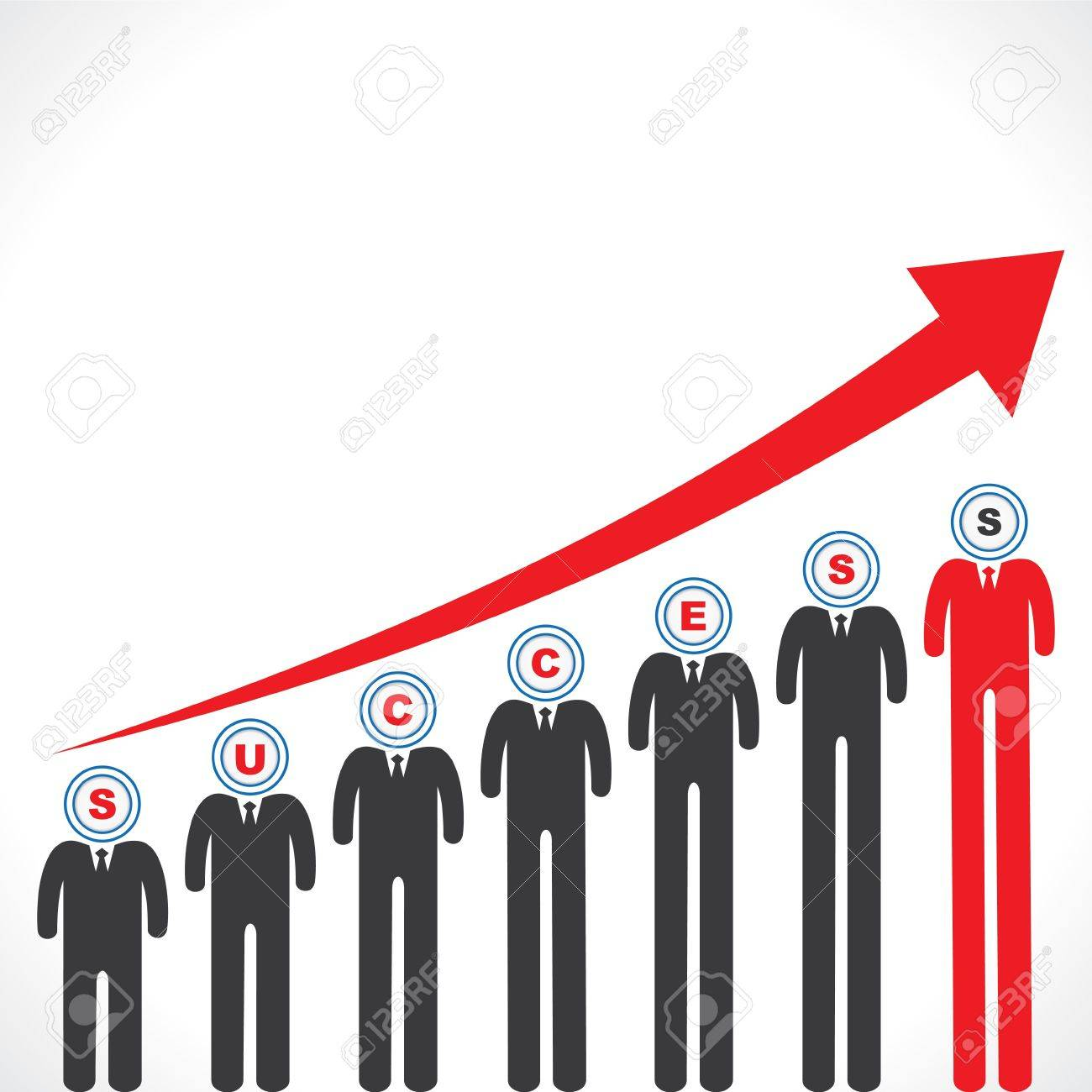 Success graph with businessman s face Stock Vector - 18053502
