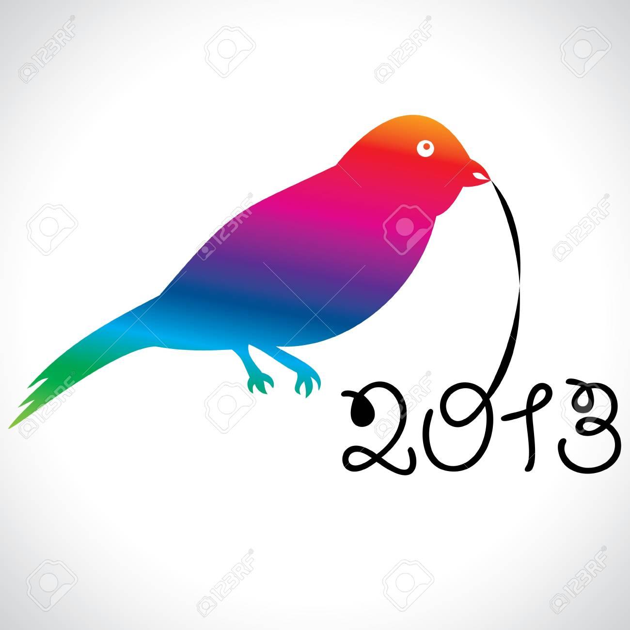 bird with happy new year 2013 Stock Vector - 18268936