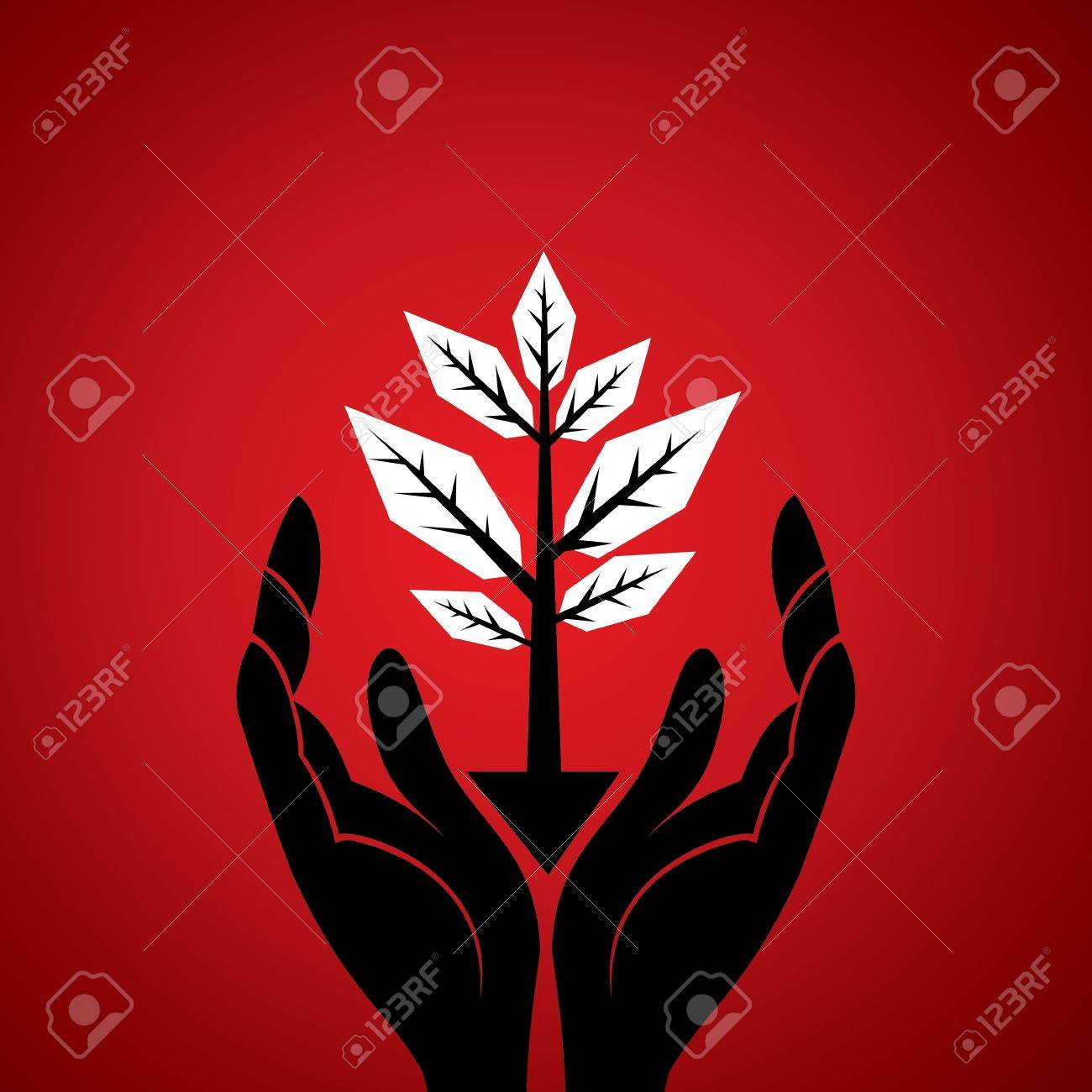 save tree concept under hand stock Stock Vector - 18398089