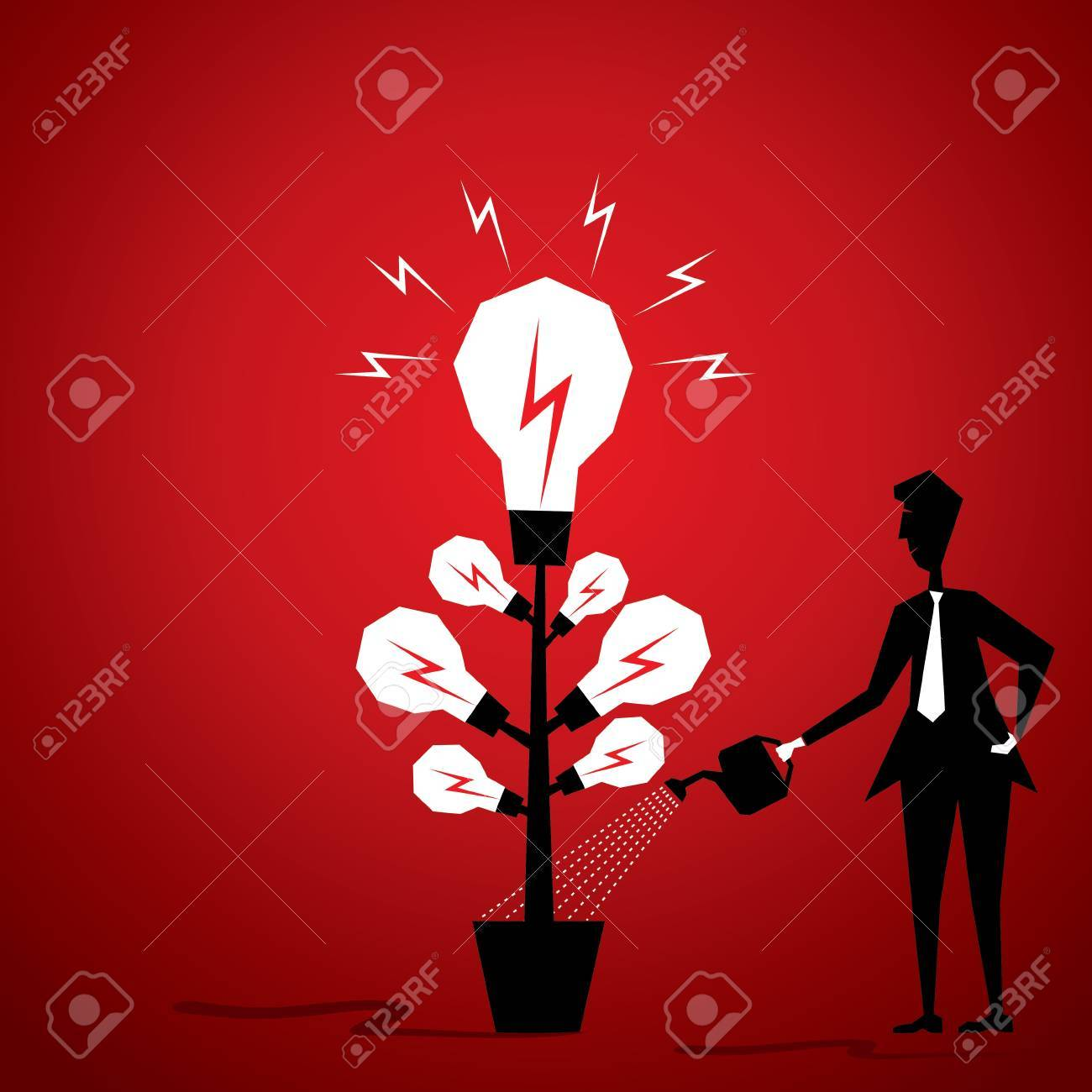 bulb plant men giving water or new idea generate plant stock vector Stock Vector - 18398127