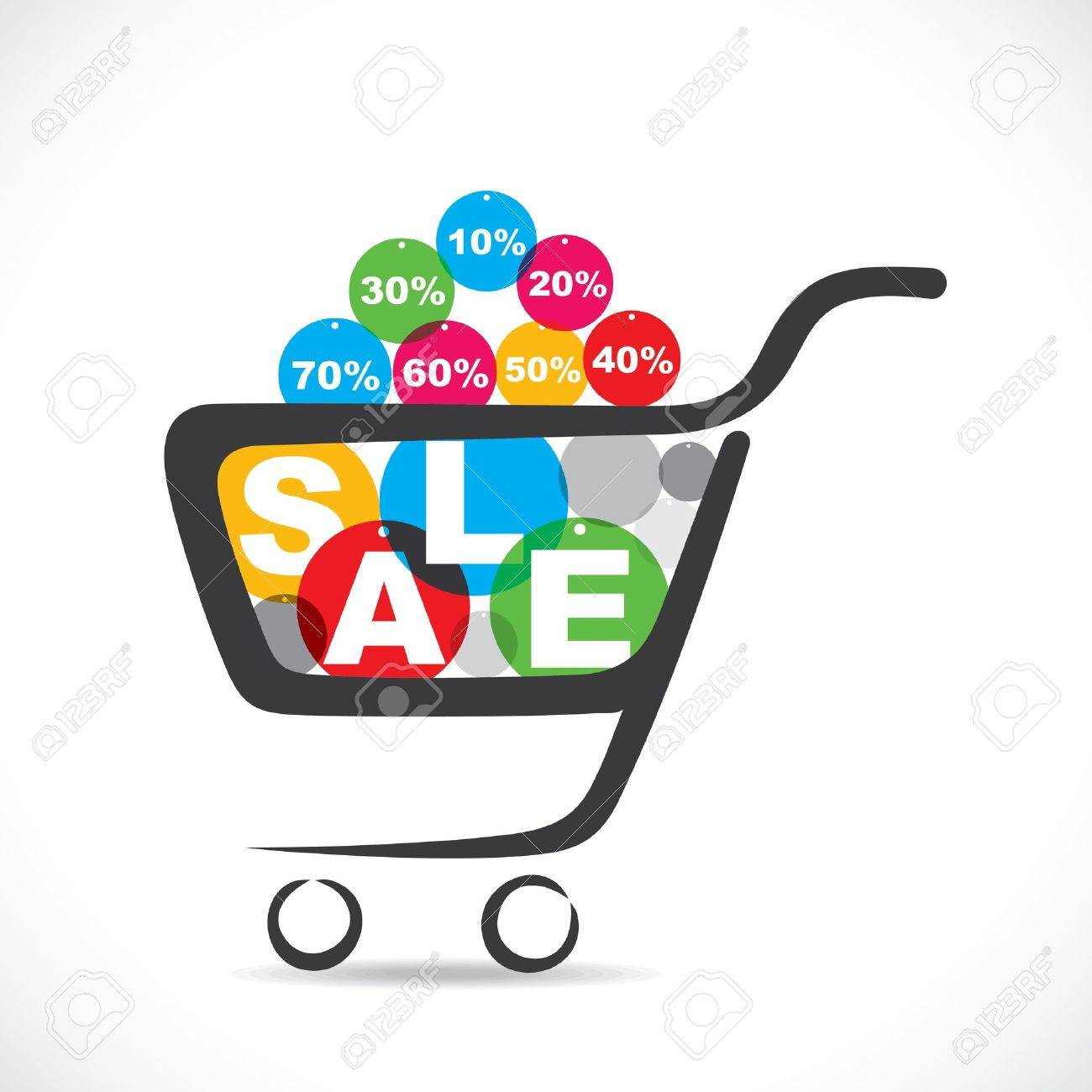 sale text in shopping cart  stock vector Stock Vector - 18904822