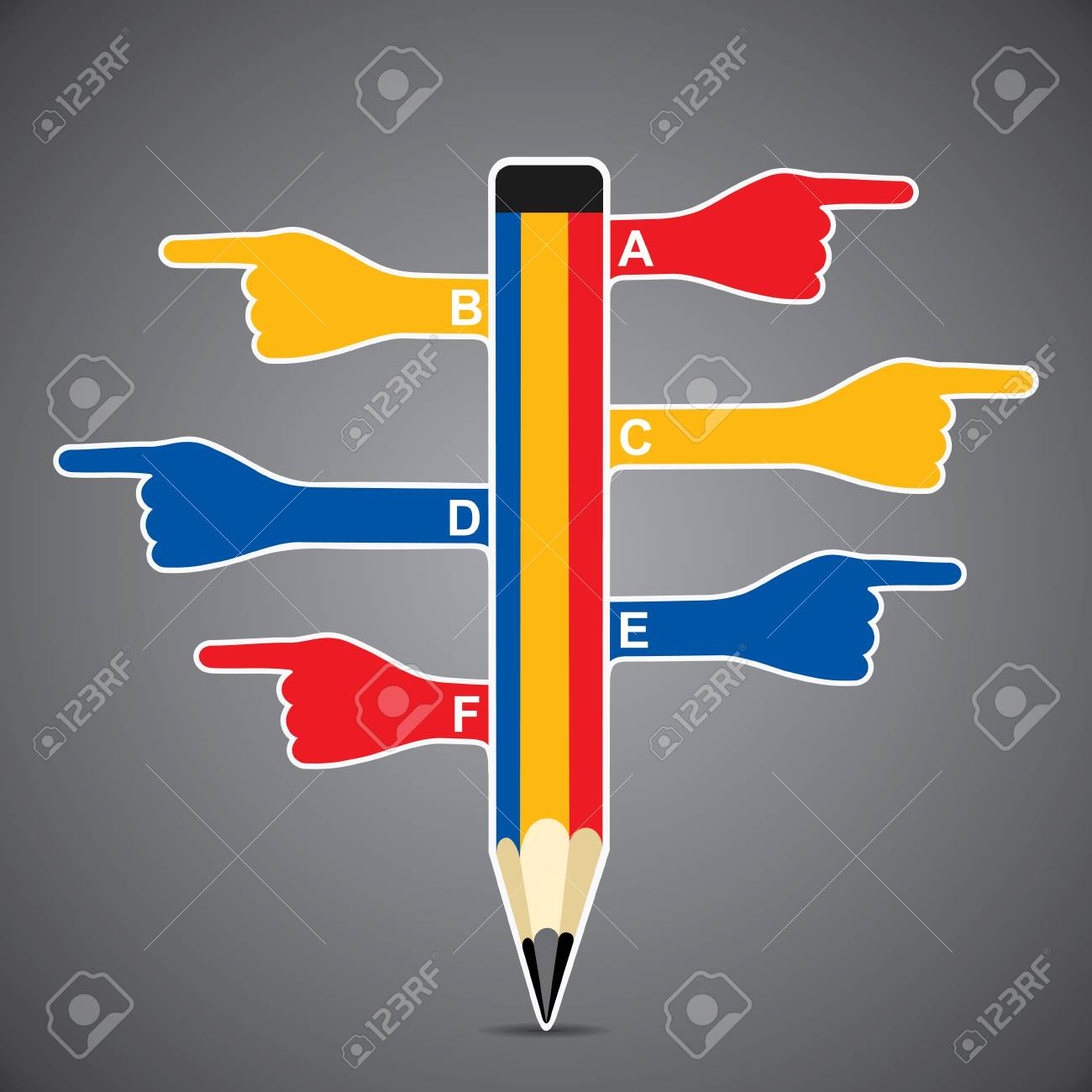 colorful pencil infographics with hand pointed stock vector Stock Vector - 18904938