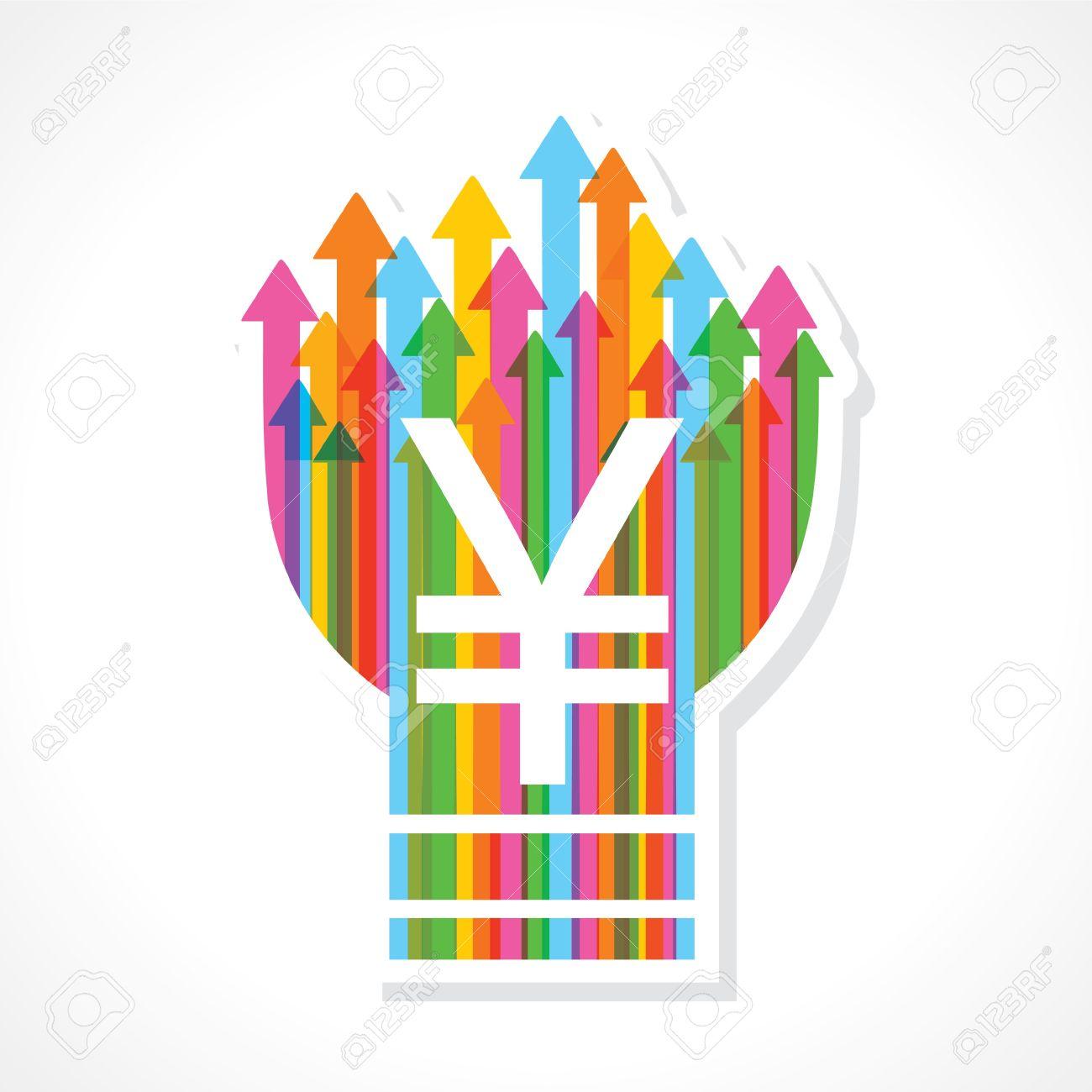 Yen symbol on colorful arrow bulb stock vector Stock Vector - 19080378