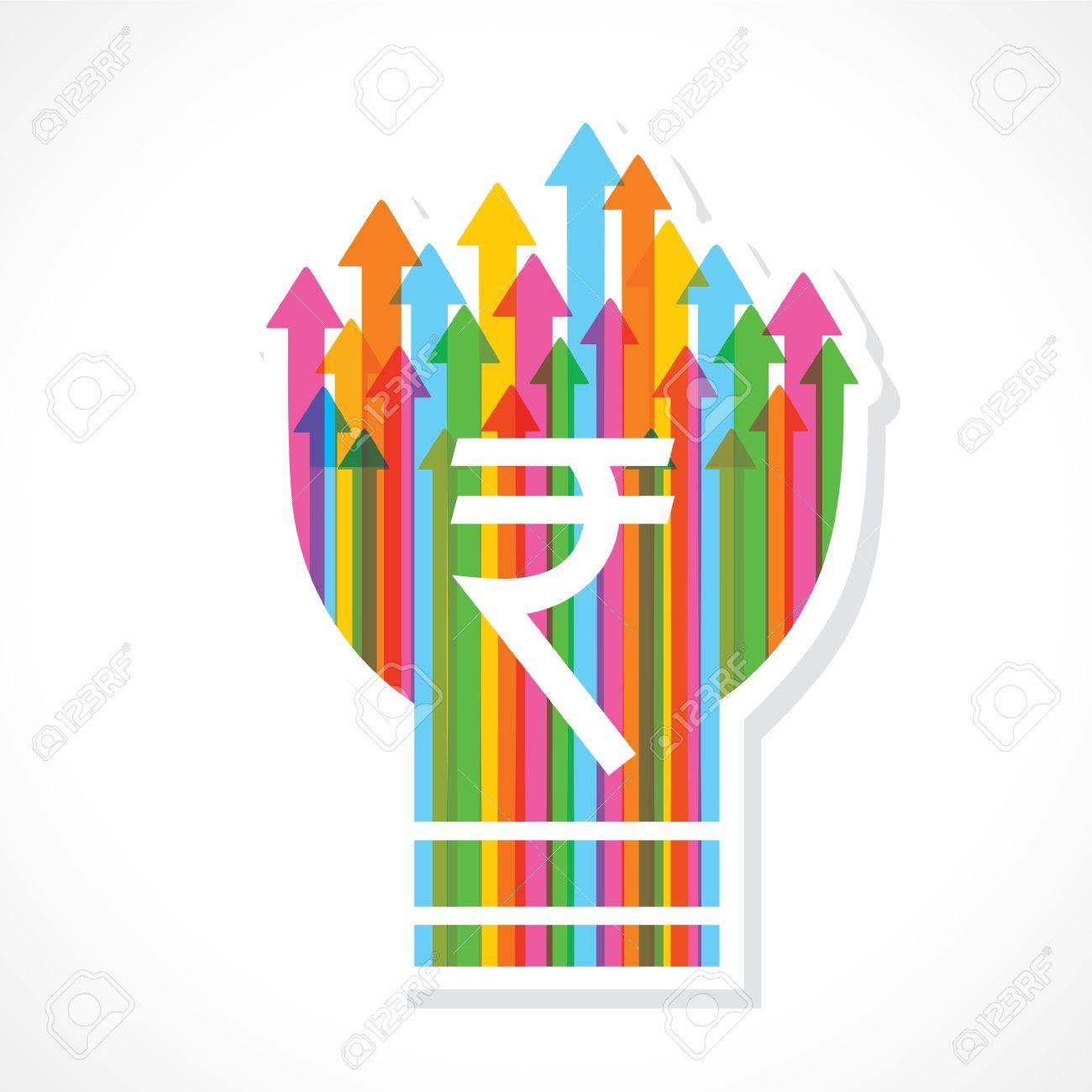 Rupee symbol on colorful arrow bulb stock vector Stock Vector - 19080412