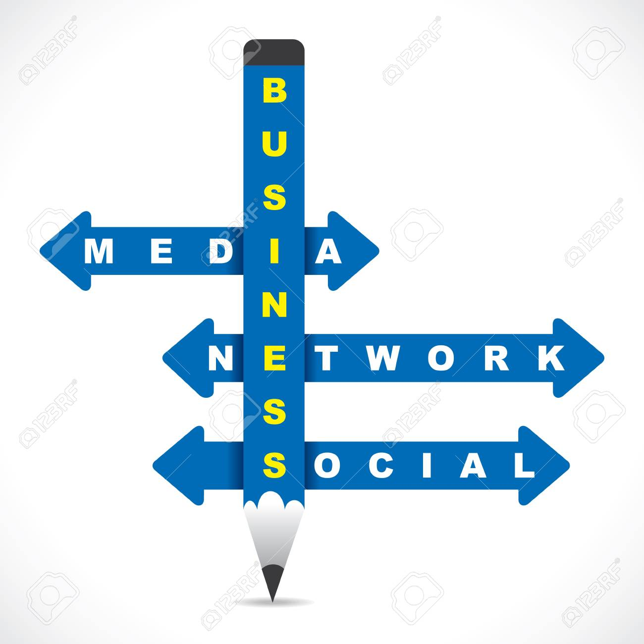 business word on blue pencil with directional arrow stock vector rh 123rf com vector arrow word vector arrow word