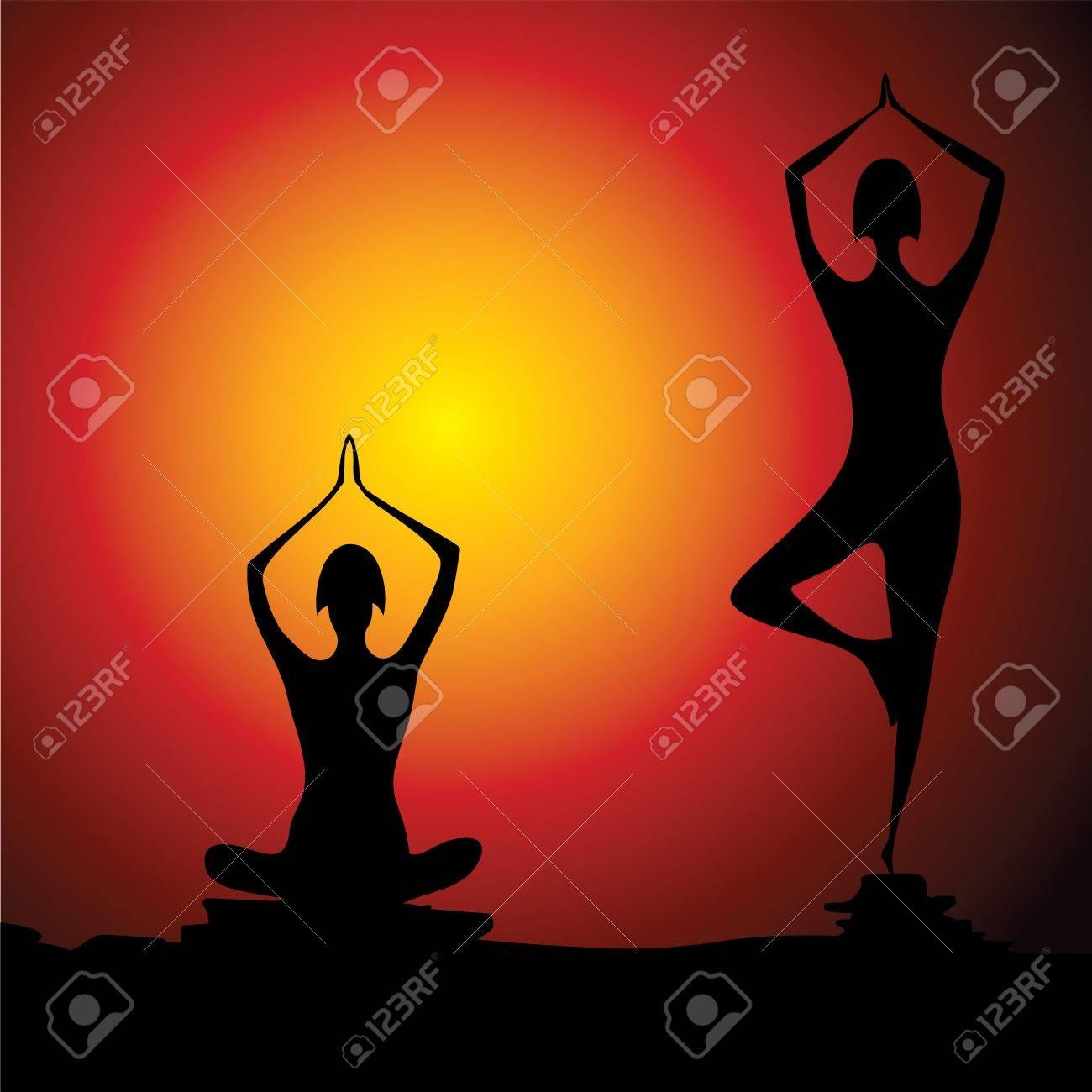Different yoga women figure stock vector Stock Vector - 19623024