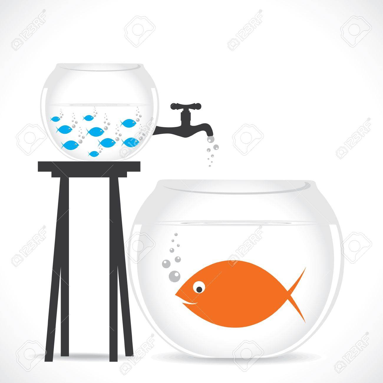 group of small fish in small pot and one big fish in big pot Stock Vector - 20220466