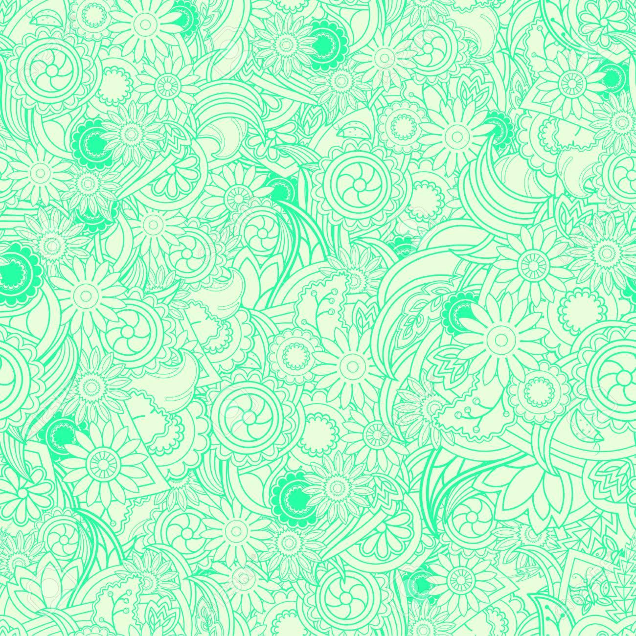floral hellgrünen hintergrund. nahtlose textur mit blumen und grün