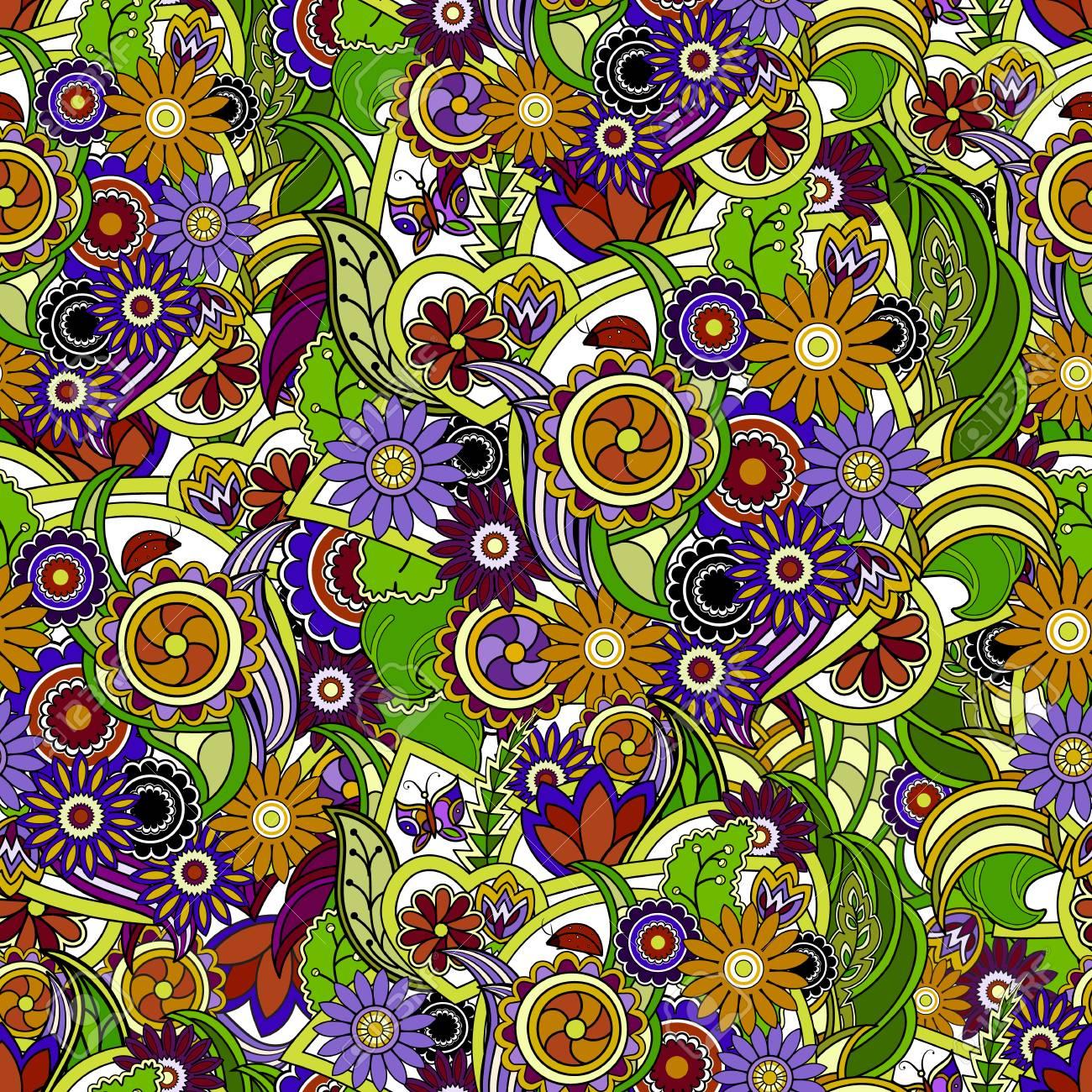 floral bunten hintergrund. nahtlose textur mit blumen und grün