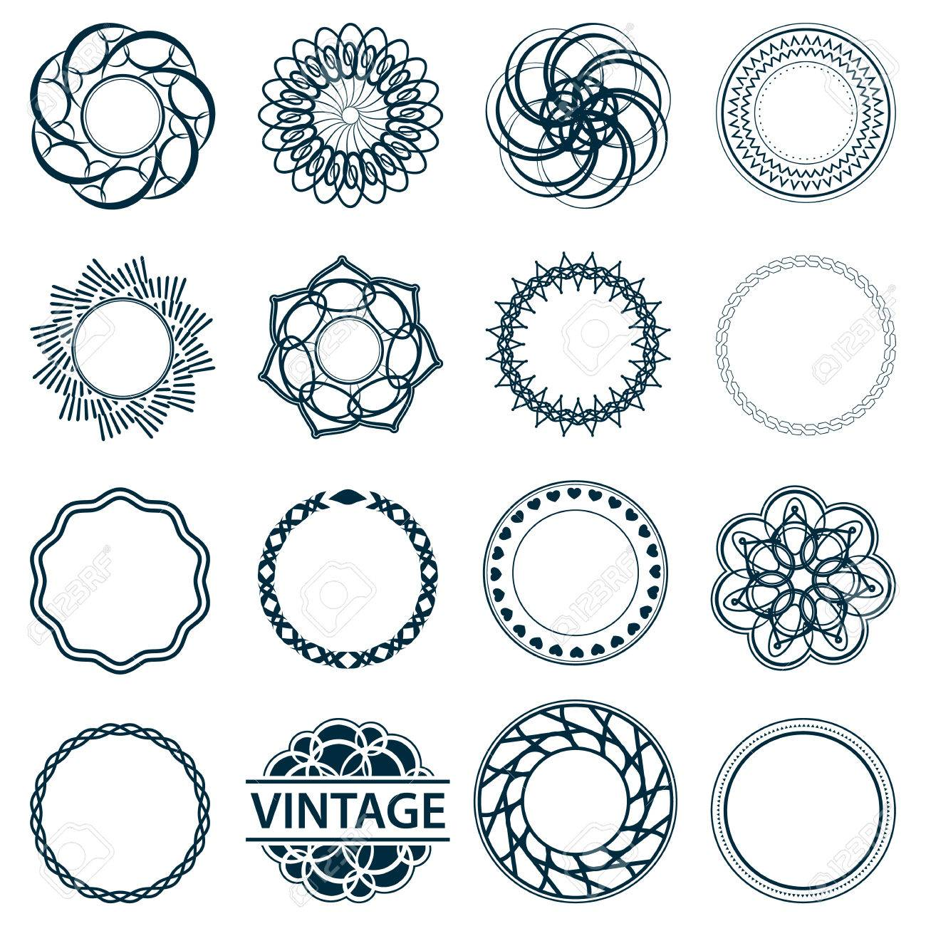 647f6375caf ... outline blue color in white background. Set fractal and swirl shape  element. Vintage monochrome different objects. Vector decorative sample.