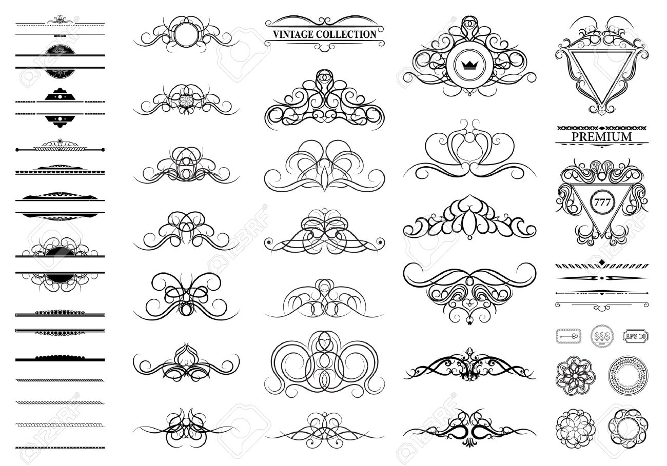 Vintage set decor elements decoration for logo wedding album vector vintage set decor elements decoration for logo wedding album or restaurant menu elegance old hand drawing set ornate swirl leaves label junglespirit Image collections
