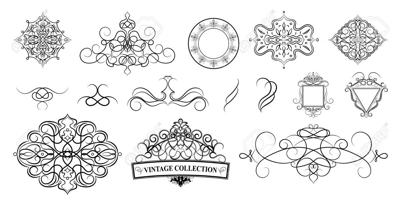 Establecer Los Bordes De La Vendimia Marco Y Roseta Decoración Para El Logotipo álbum De La Boda O El Menú Del Restaurante Hojas Adornadas