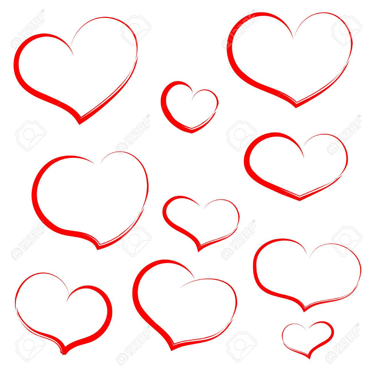 Set Hand Draw Heart In Red Outline Hearts For Wedding Valentine