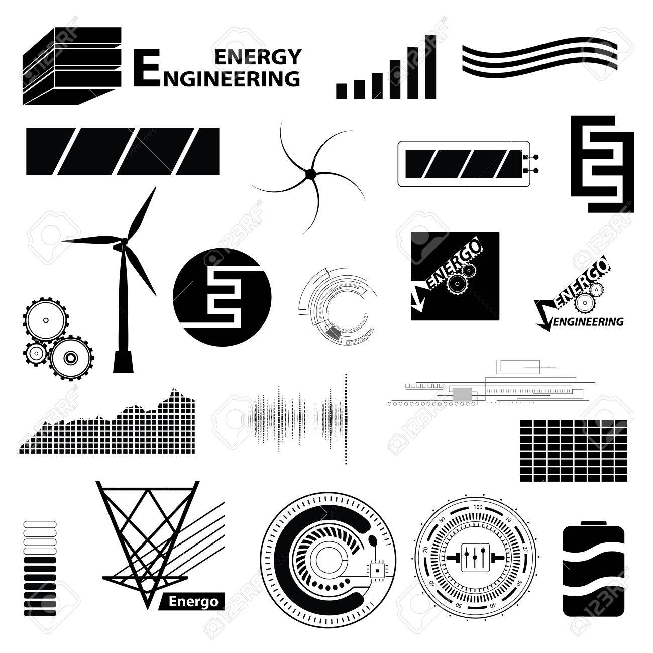 Technology And Energy Set Different Sign Simple Icons And Symbol