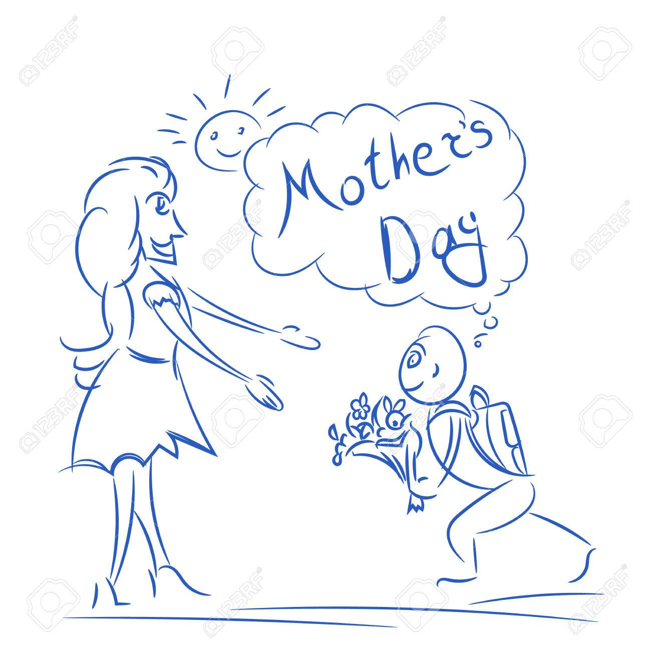Mothers day in sketch vector doodle illustration with mom and son for mothers day