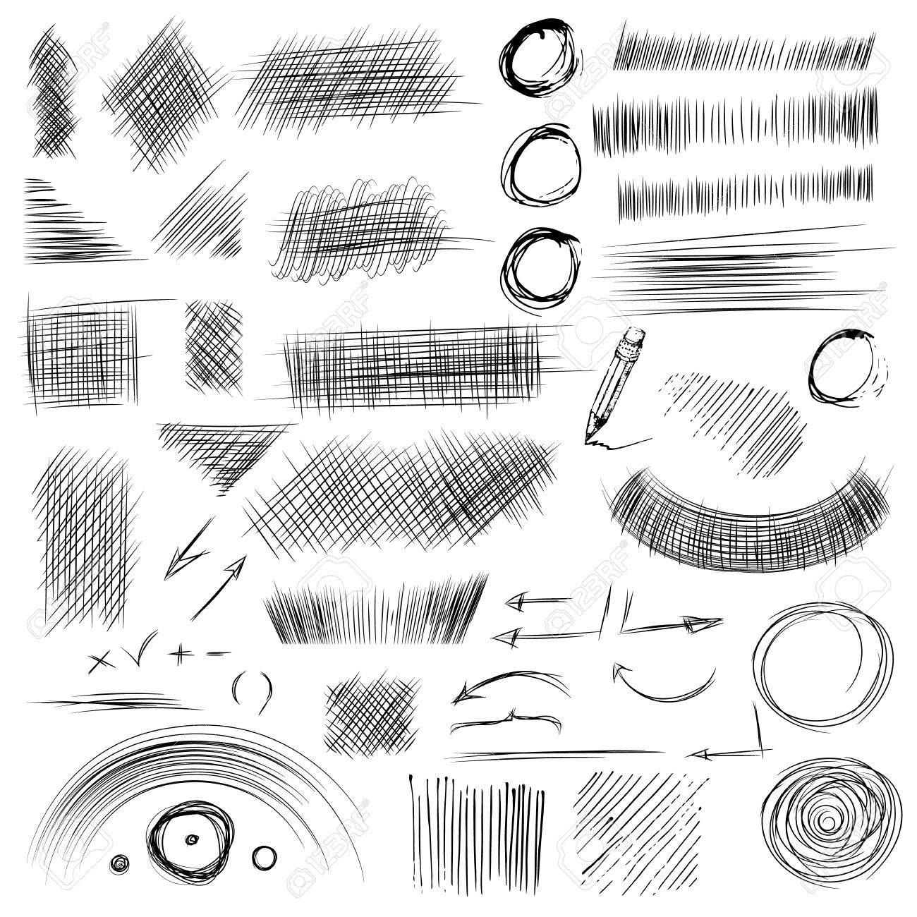 Pencil sketches hand drawn scribble shapes a set of doodle line drawings vector