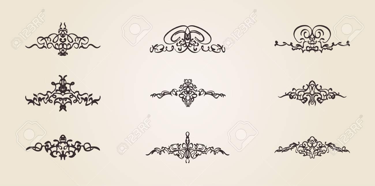 Vintage decor elements and wicker vector lines decoration of decoration of logos page wedding album menu flourish set elegant contour classic ornamental motif calligraphic design elements medieval swirl junglespirit Images