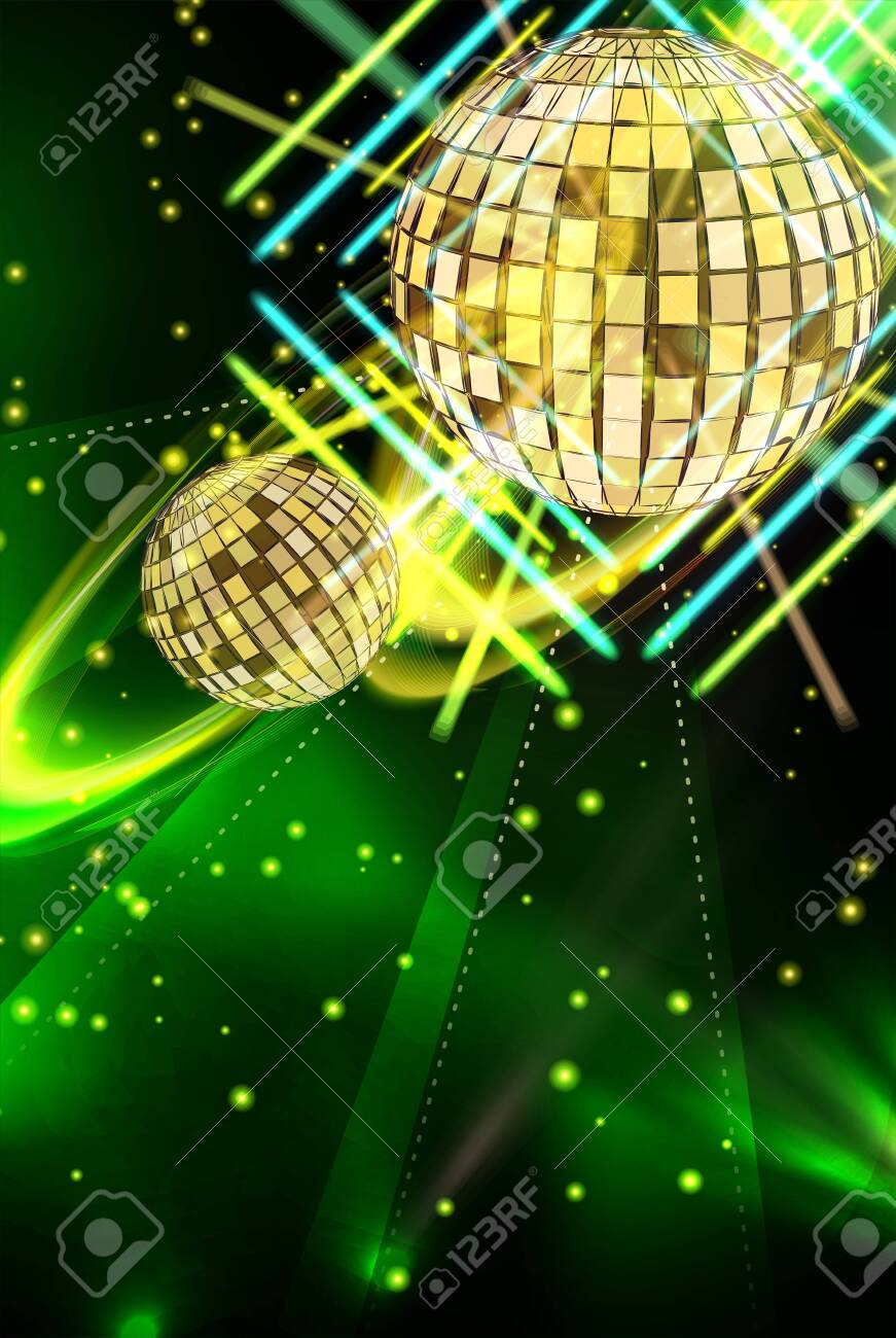 Light Music In Neon Vector Green Abstract Background With Disco