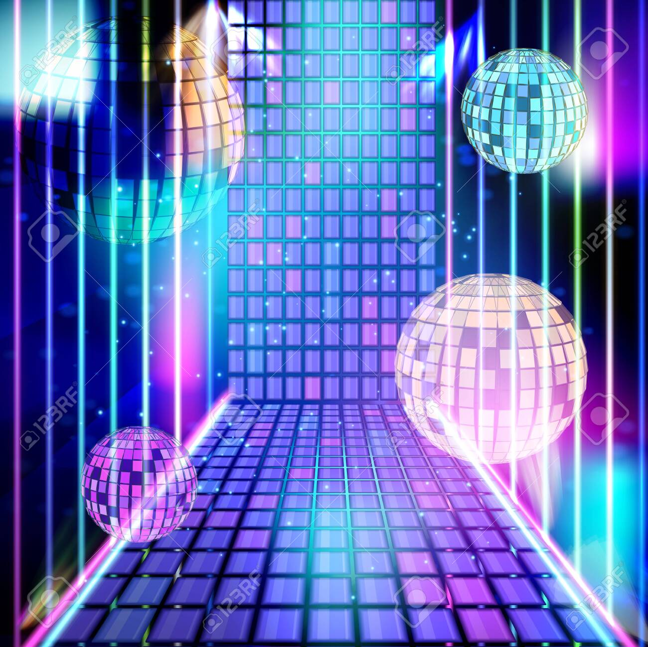 Light Music In Purple Neon Energy Party In Night Club Vector