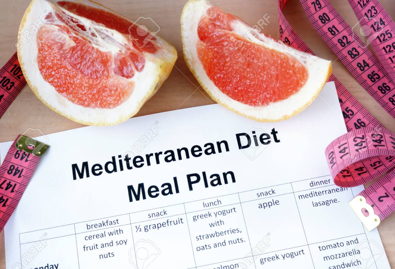 Mediterranean diet meal plan and grapefruit  Weight loss concept
