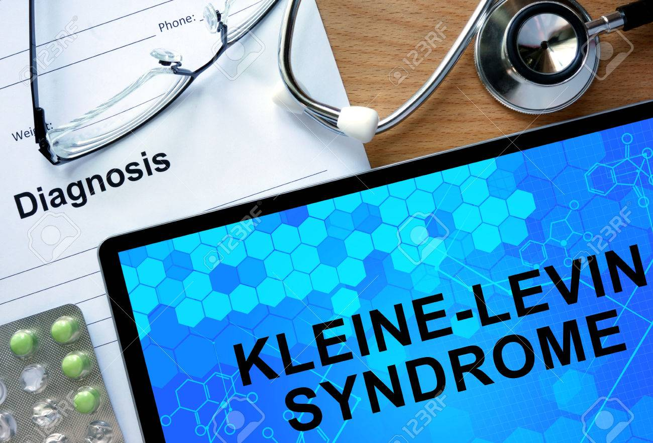 Diagnostic form with diagnosis Kleine-Levin Syndrome and pills. - 41979741