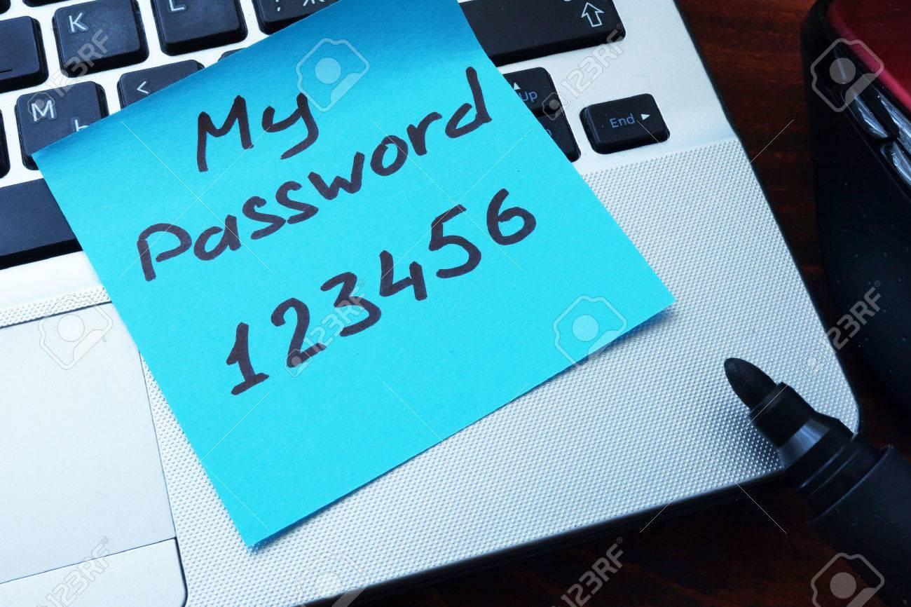 123Rf Password easy password concept. my password 123456 written on a paper.. stock