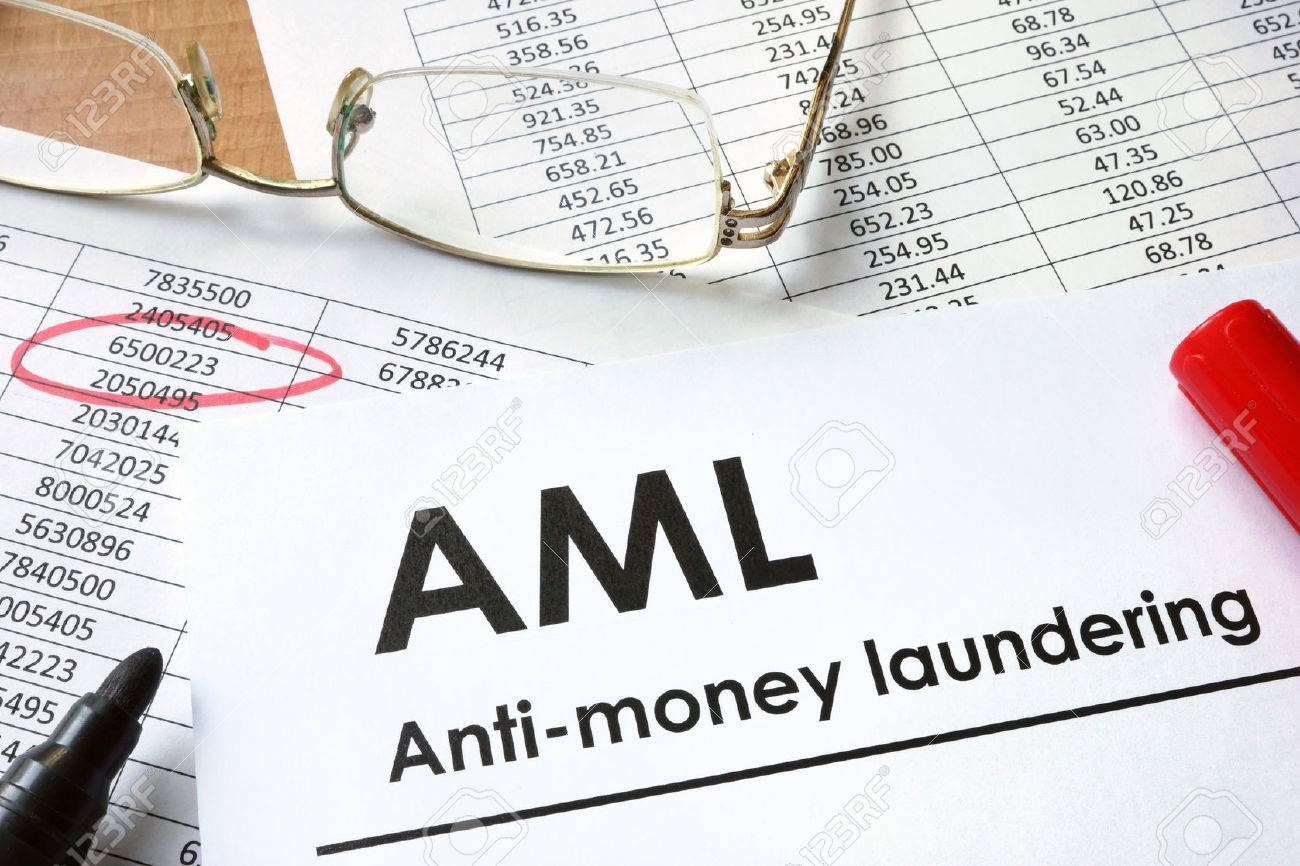 paper with words anti-money laundering (aml) stock photo, picture