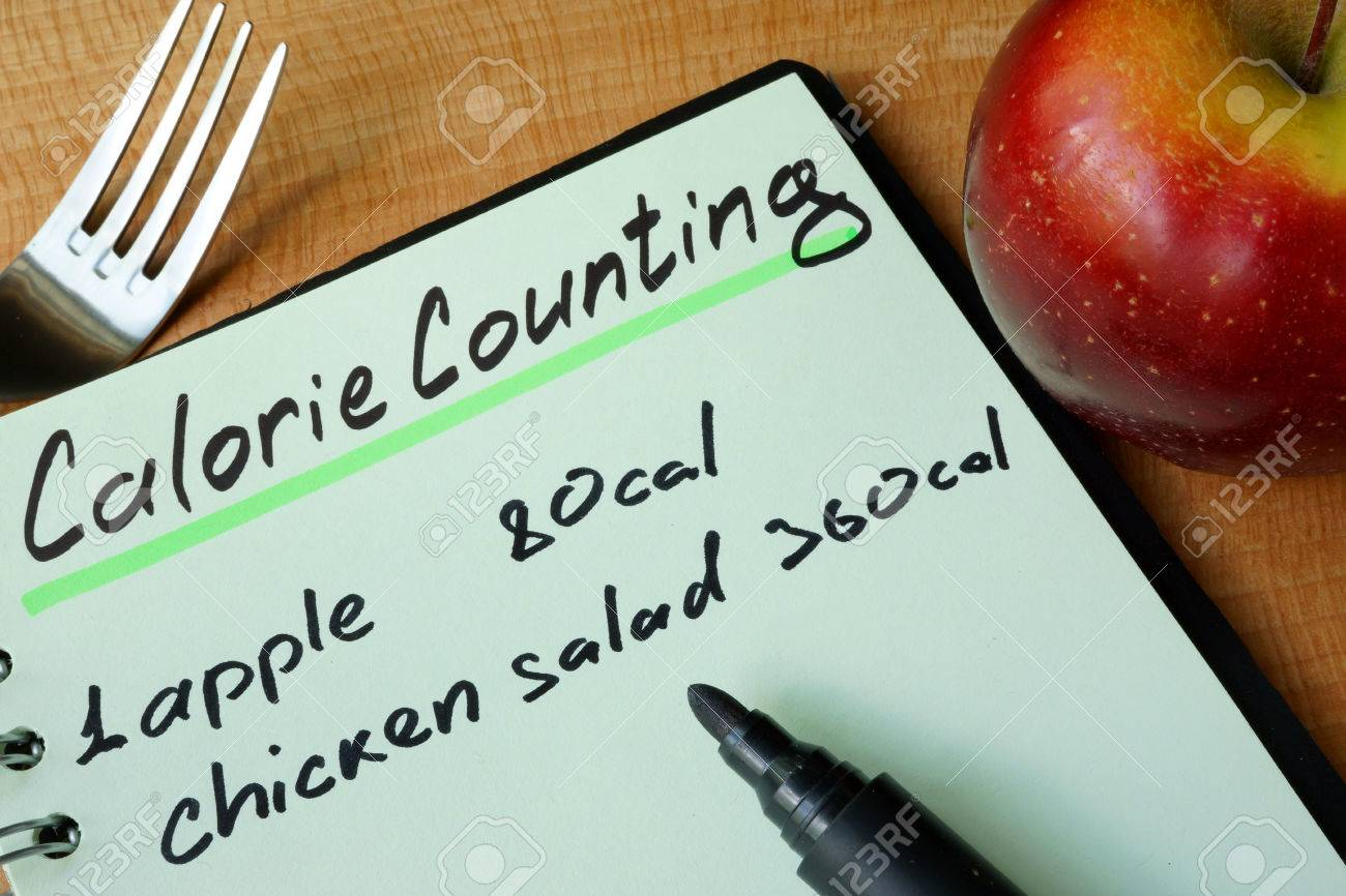 Diary with a record Calorie counting on a table. - 60526935