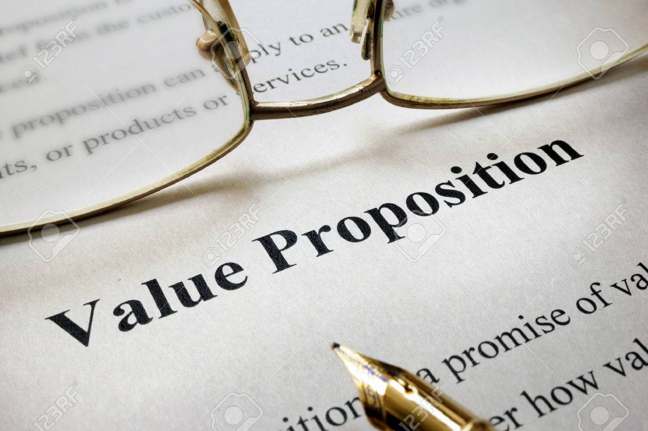 page of paper with words value proposition stock photo, picture and