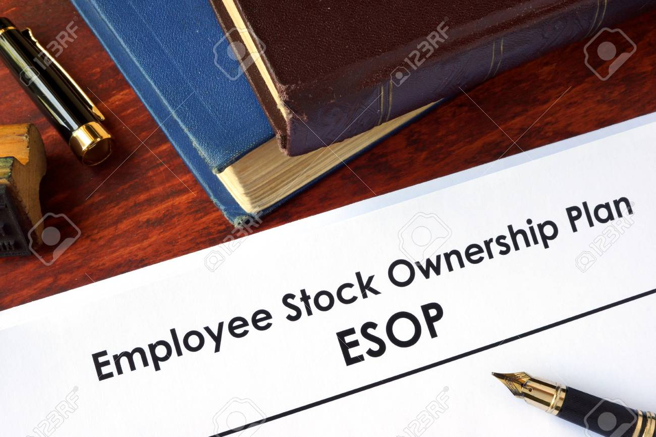 Papers With Employee Stock Ownership Plan Esop On A Table
