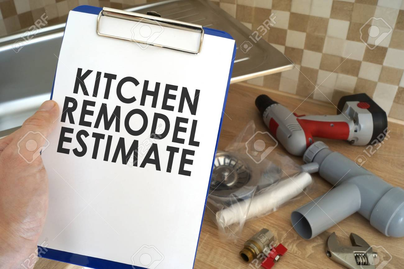 Plumber Taking Clipboard With Kitchen Remodel Estimate Stock Photo Picture And Royalty Free Image Image 92220981