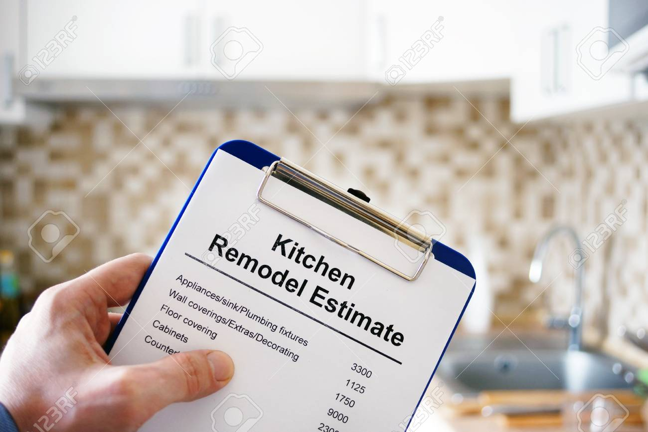 Clipboard With Kitchen Remodel Estimate. Cost Of Renovation. Stock ...