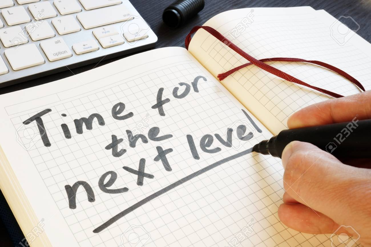 Man is writing time for the next level. Motivation. - 106213376