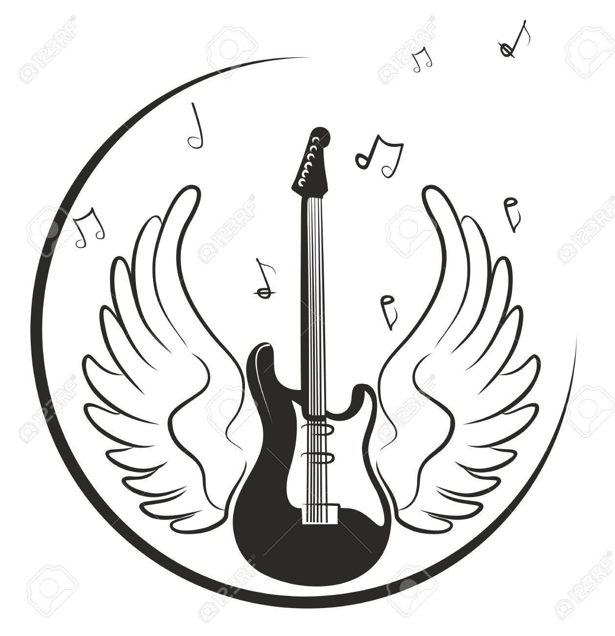Electric Guitar Drawing With Wings And Notes Royalty Free Cliparts Vectors And Stock Illustration Image 51441055