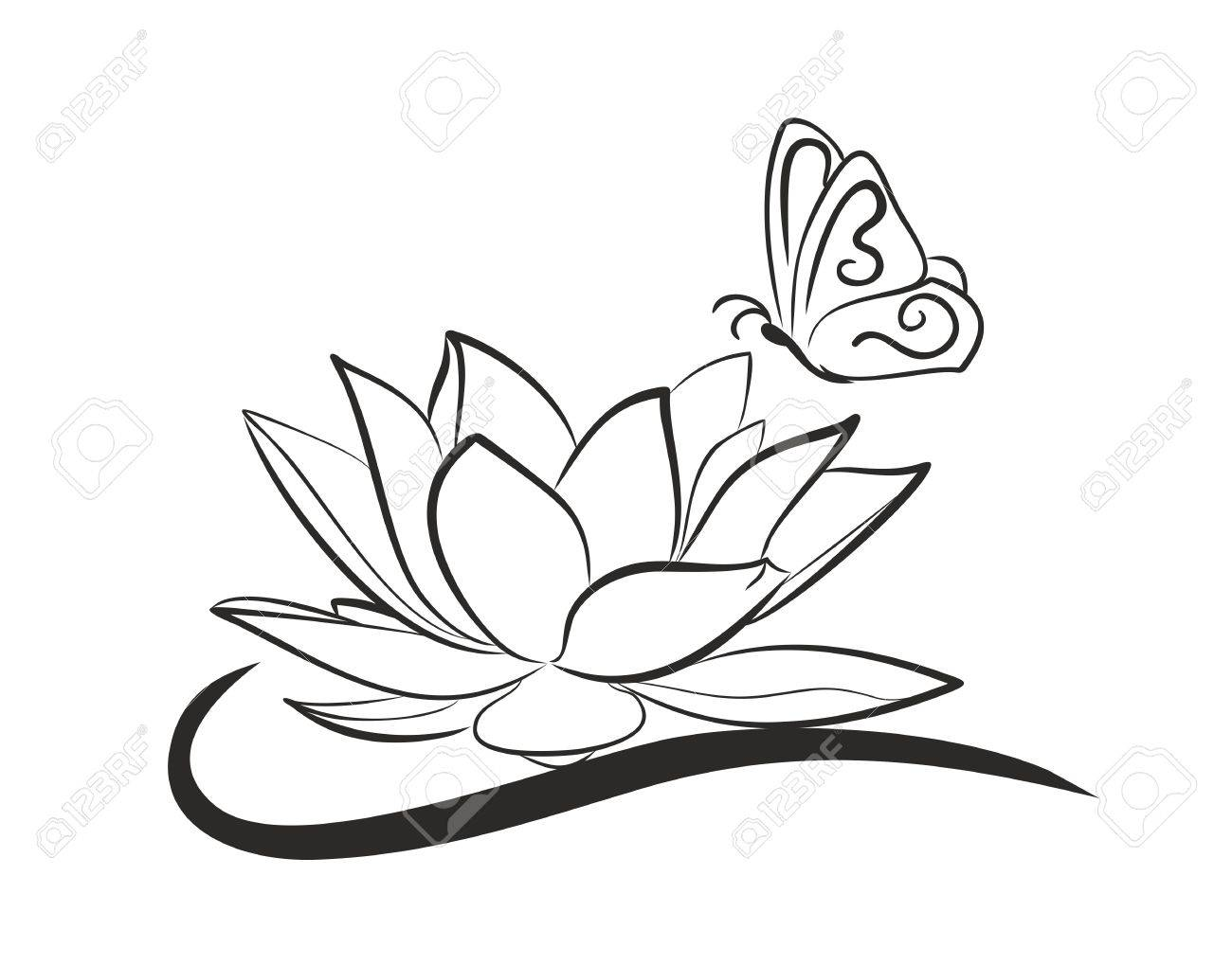Lotus with flying butterfly. - 54791036