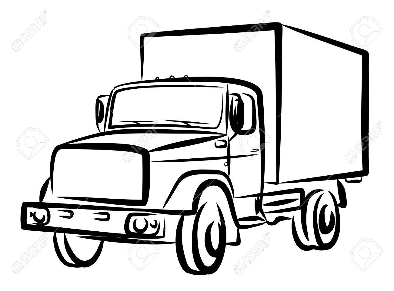 Sketch Of Heavy Truck. Stock Photo, Picture And Royalty Free Image ...