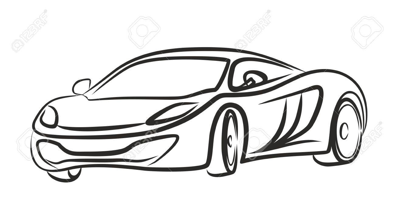 Sketch Of Sports Car. Stock Photo, Picture And Royalty Free Image ...