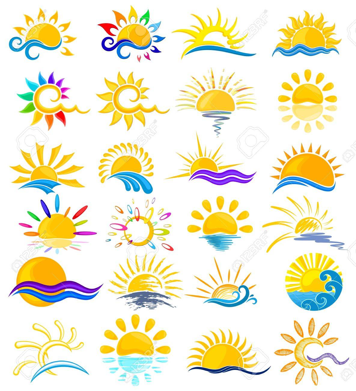 A Set Of Logos With Sun And Sea Royalty Free Cliparts Vectors And Stock Illustration Image 55946361
