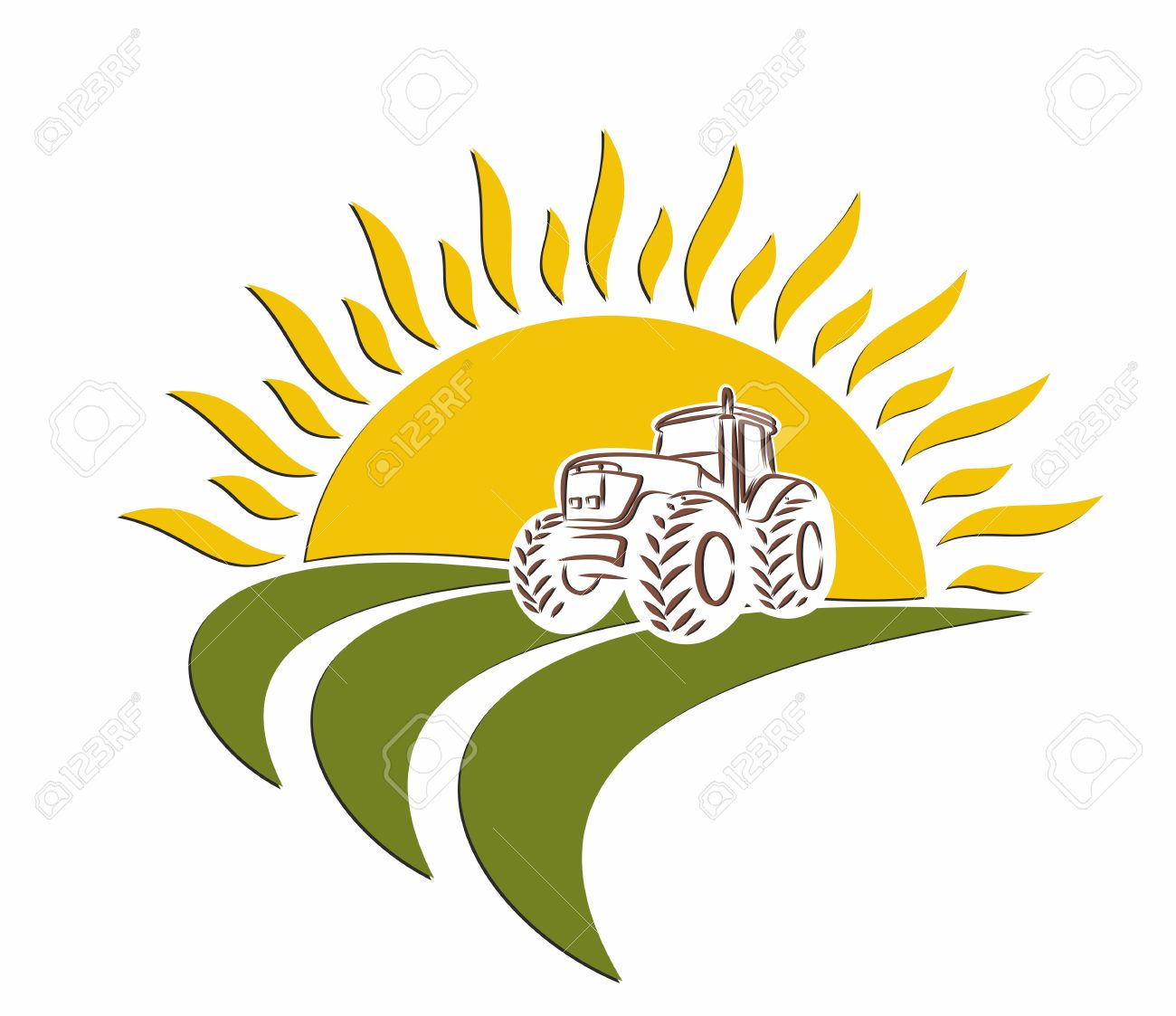 A tractor logo in a wheat field from the sun dawn. - 56622600