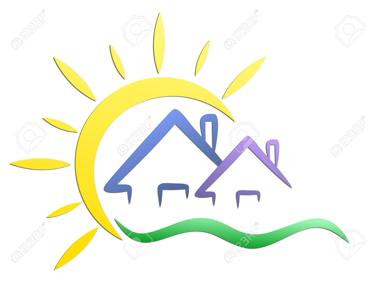 Logo Cottages With Sun Stock Vector