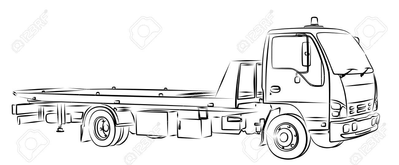 Sketch Tow Truck. Royalty Free Cliparts, Vectors, And Stock ...