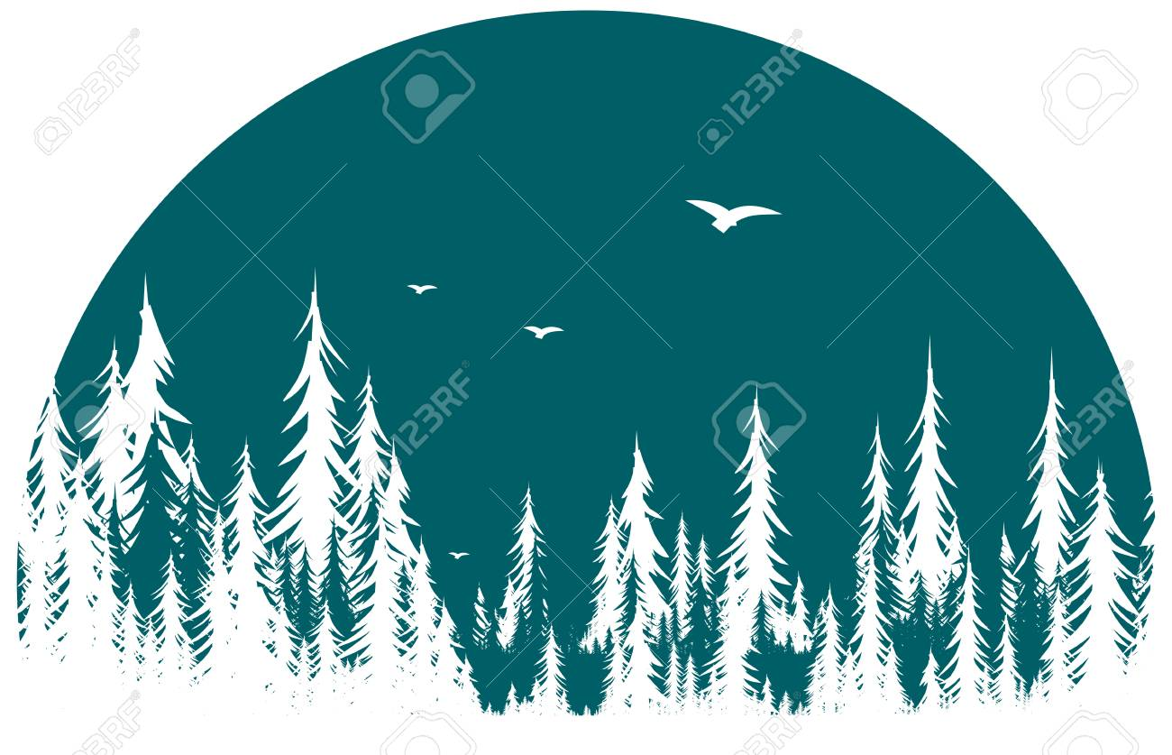 A forest symbol with flight of birds. - 118079750