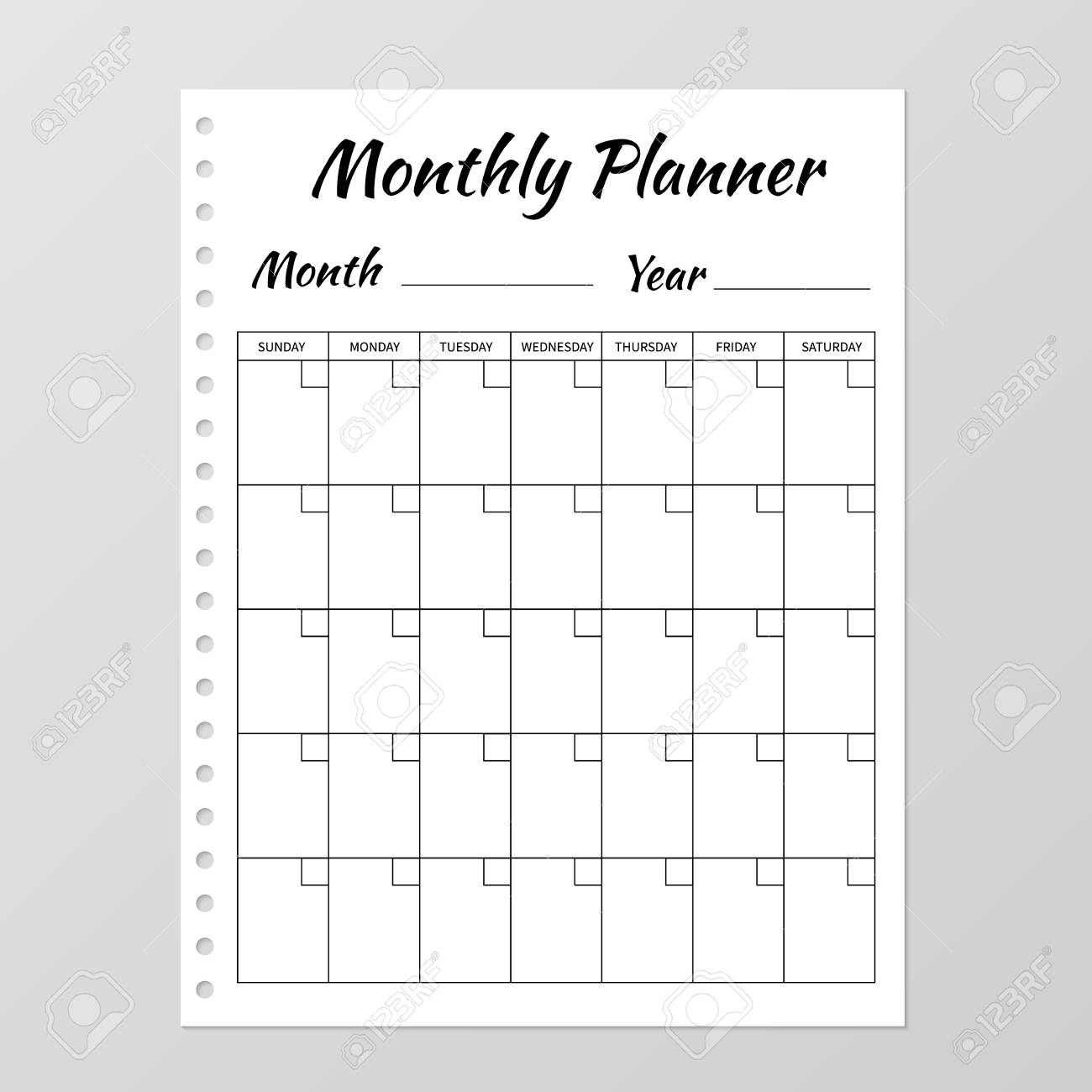 monthly planner template blank white notebook page isolated