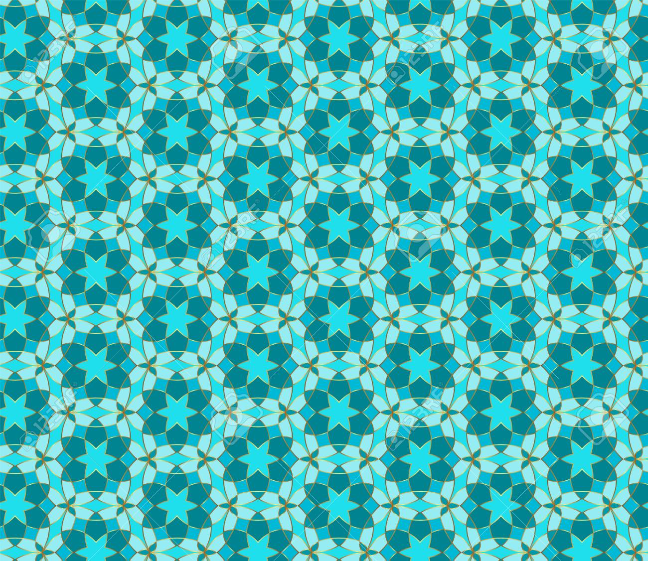 Floral Seamless Lace Pattern Geometric Mosaic Background Mint