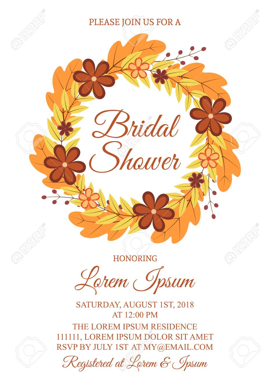 autumn bridal shower invitation card wreath with colorful leaves and flowers fall theme bridal